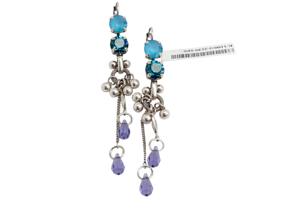 Peacock Collection Dangle Earrings with Crystal Drop