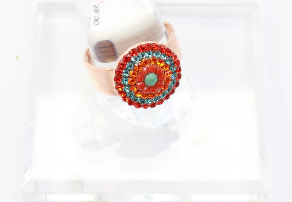 Serengetti Collection Round Crystal Ring In Rose Gold