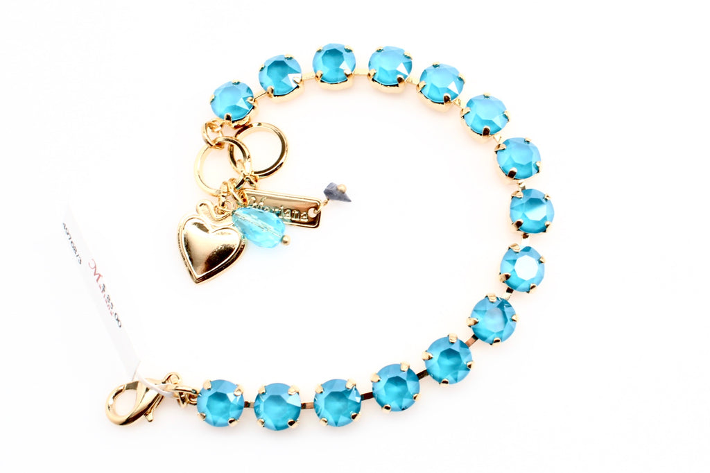 Azure Blue Opal Medium Crystal Bracelet in Gold