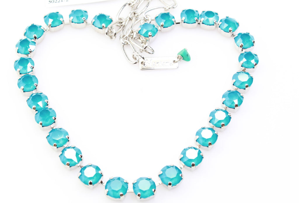 Azure Blue Opal Medium Crystal Necklace