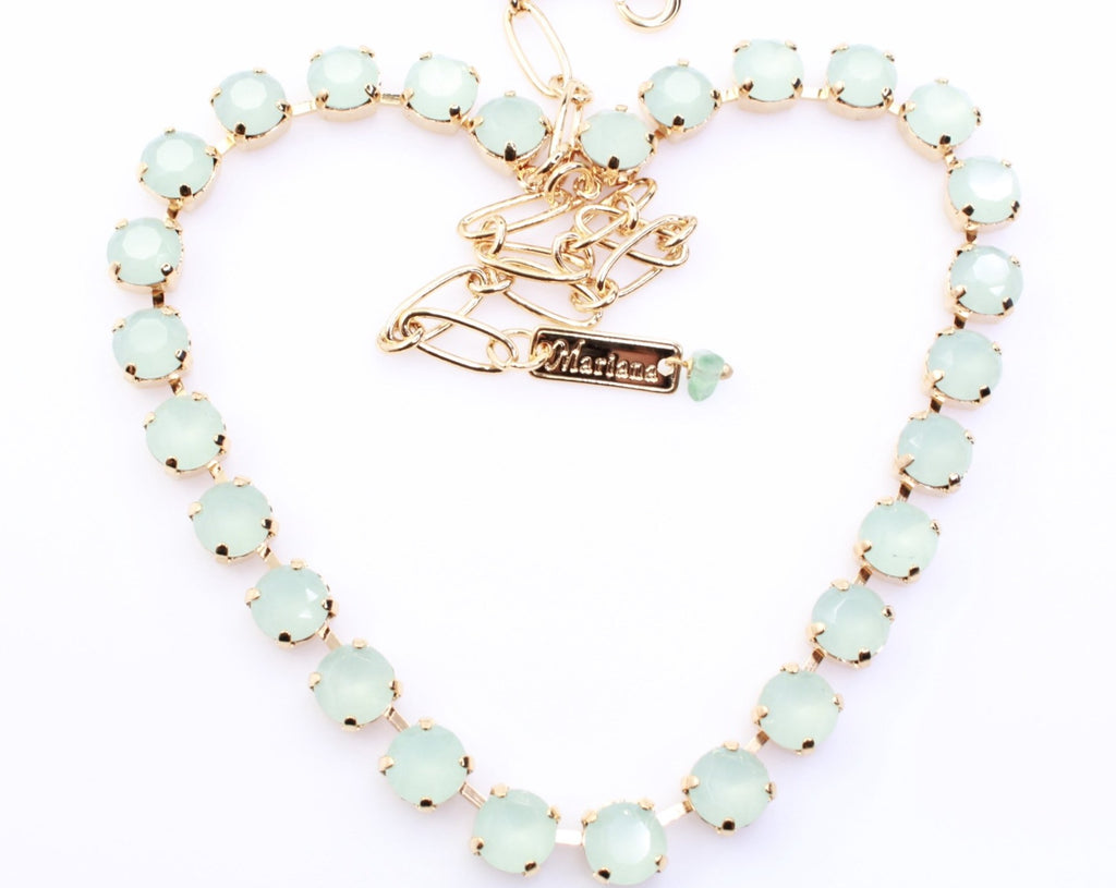 Seafoam Medium Crystal Necklace in Gold