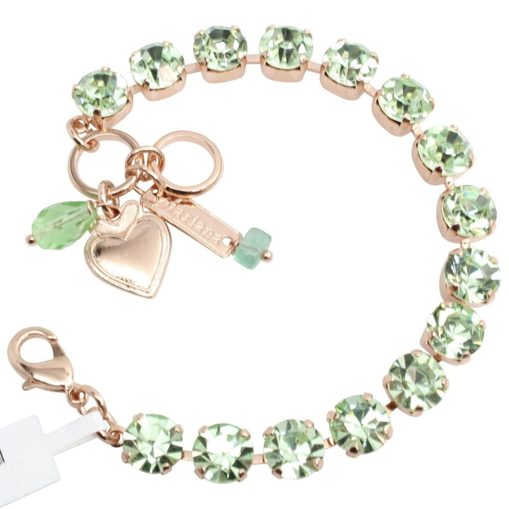 Chrysolite Medium Crystal Bracelet in Rose Gold
