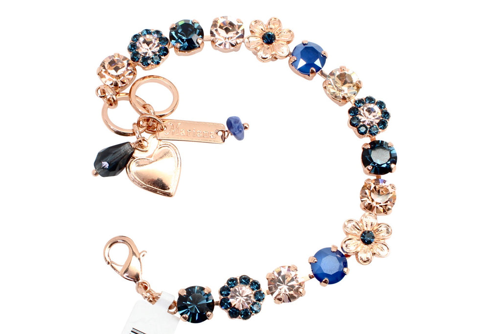 Ocean Collection Ornate Crystal Flower Bracelet in Rose Gold