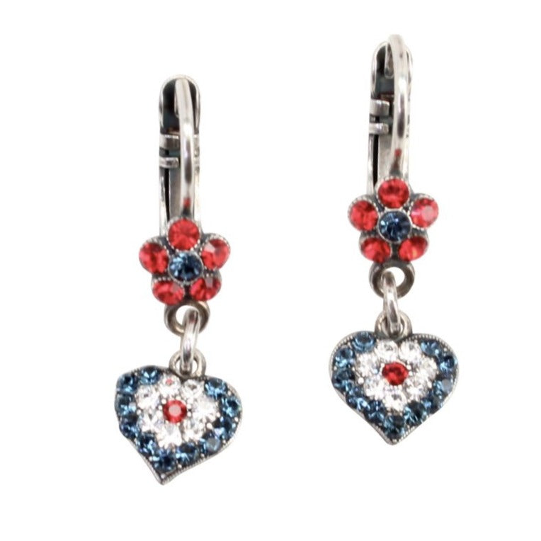 Patriot Collection Tiny Flower and Heart Crystal Earrings