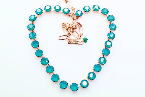 Azure Blue Opal Medium Crystal Necklace in Rose Gold