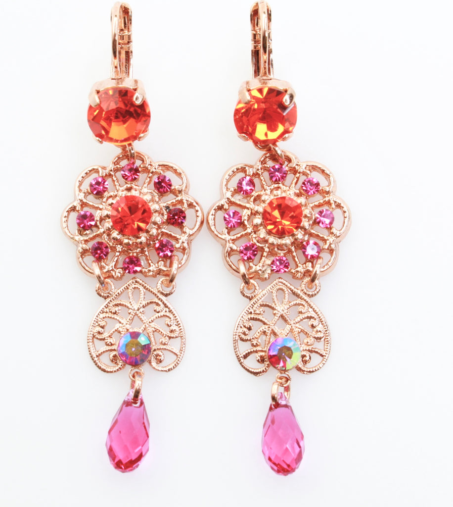 "Lady Marmalade 2 1/2"" Drop Crystal Earrings in Rose Gold"