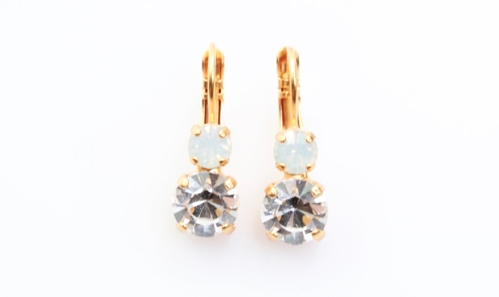 On a Clear Day Medium Double Crystal Earrings in Yellow Gold