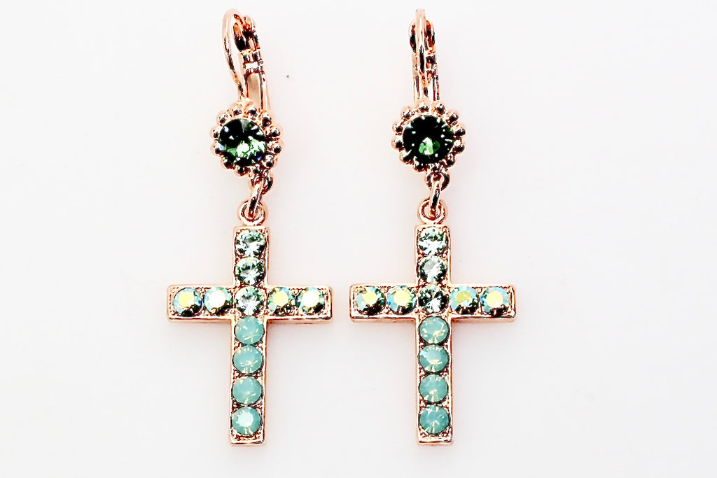 Fern Collection Cross Earrings in Rose Gold