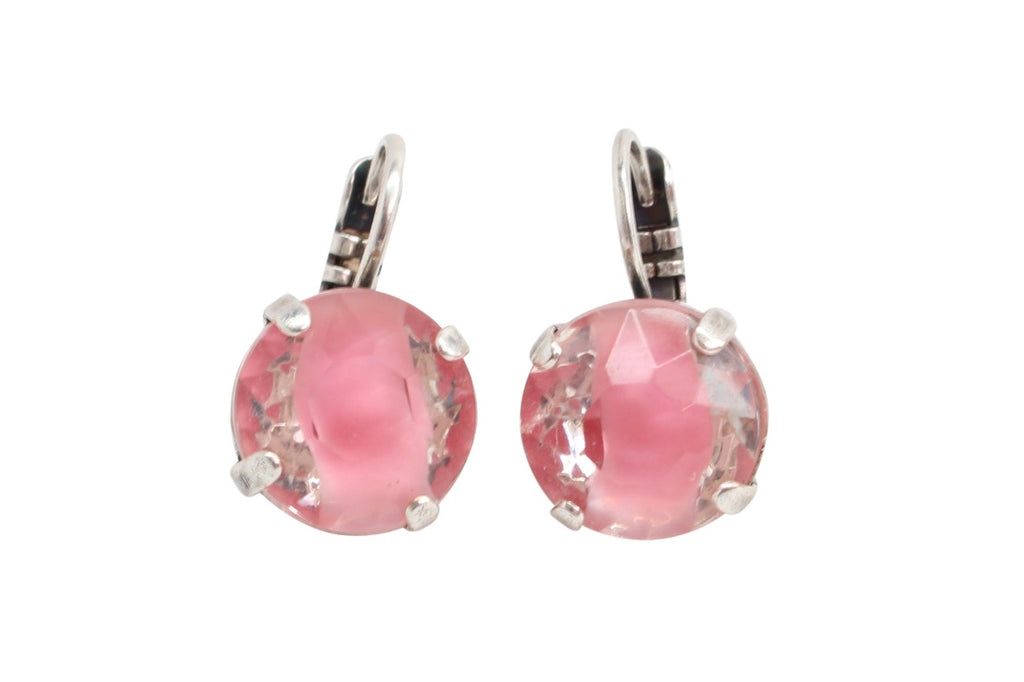 Pink Giver 11MM Crystal Earrings in Silver
