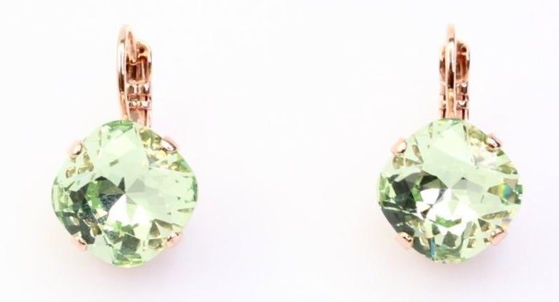 Chrysolite 12MM Square Earrings in Rose Gold