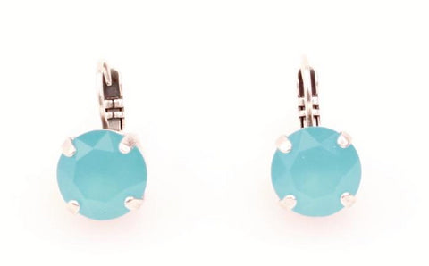 Aqua 11MM Crystal Earrings