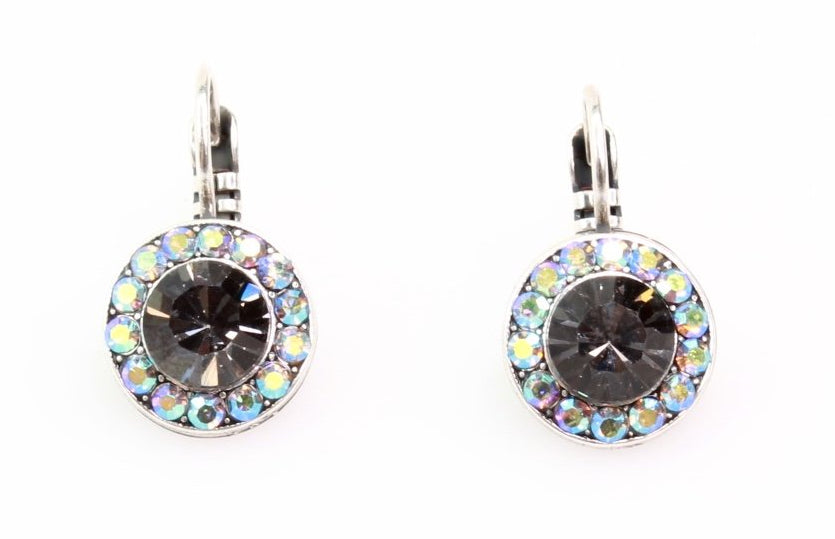 Black Diamond Round Crystal Earrings