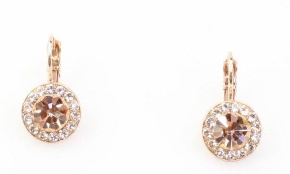 Barbados Round Crystal Earrings in Rose Gold