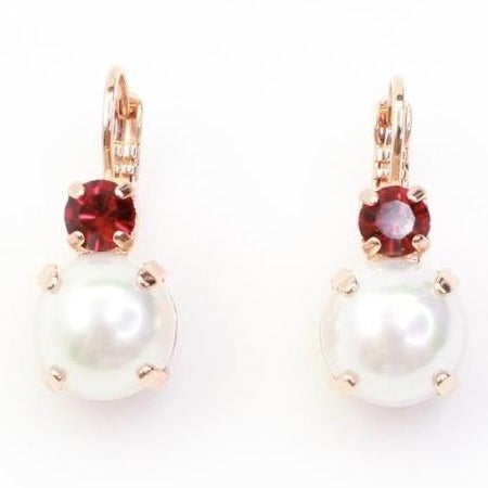 Siam and Pearl Crystal Earrings in Rose Gold