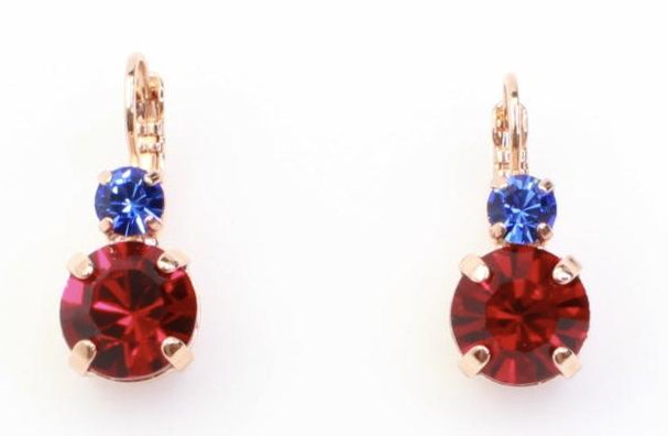 Siam Large Double Crystal Earrings in Rose Gold
