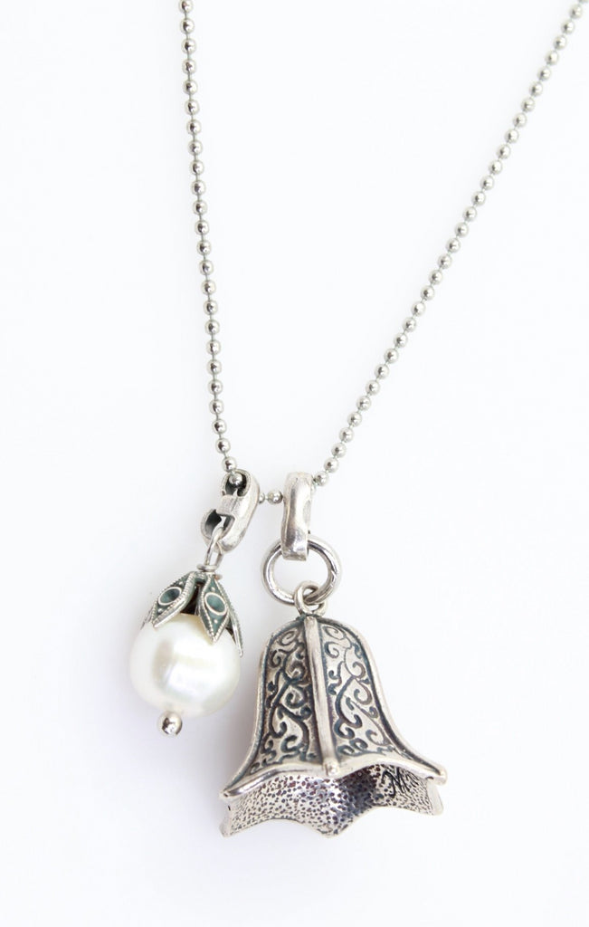 Gorgeous Bell Shaped Pendant Necklace with Pearl Accent