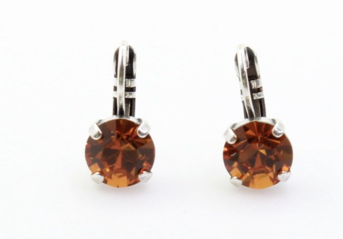 Topaz 8.5MM Round Crystal Earrings