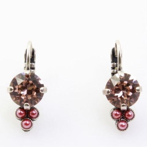 Antigua Collection Earrings with Triple Pink Pearl Accent in Silver