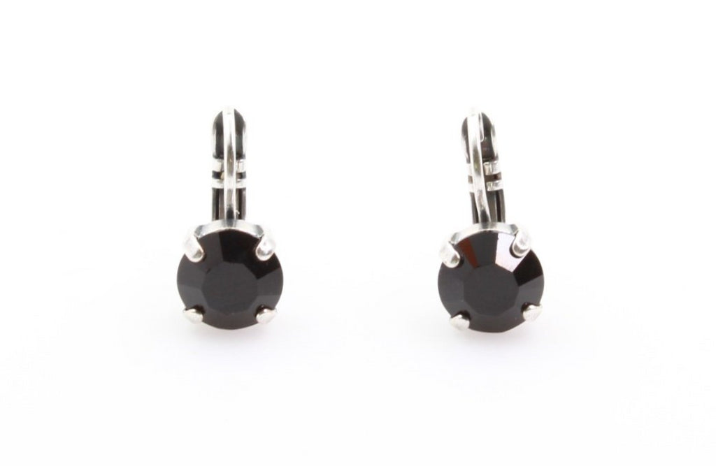 Jet Black Small Round Crystal Earrings