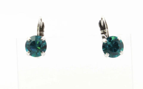 Blue Zircon Small Round Crystal Earrings