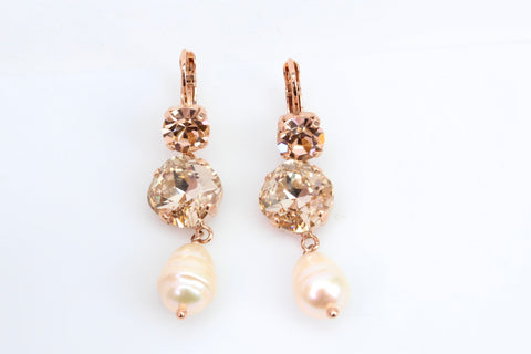 Barbados Collection Long Crystal Earrings in Rose Gold