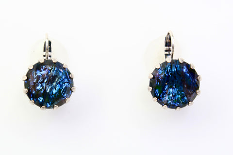 Blue Glitter 15MM Crystal Earrings
