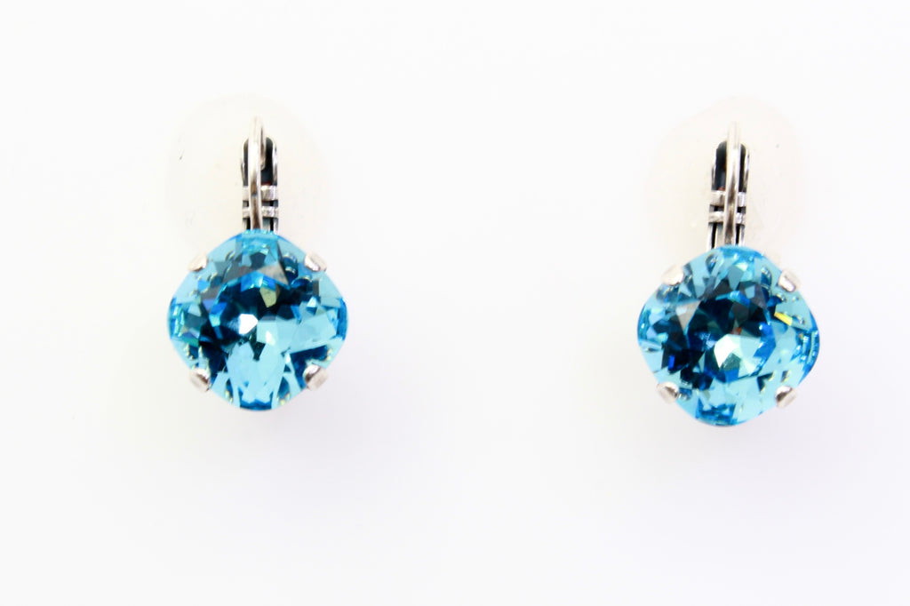 Aquamarine 12MM Square Earrings