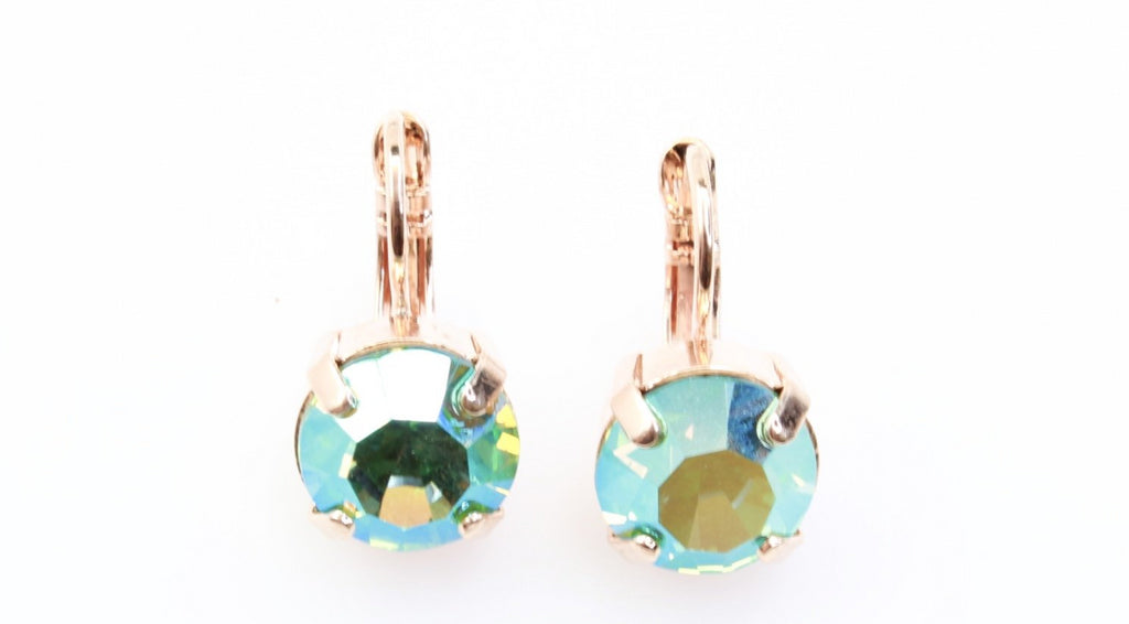 Peridot AB 11MM Crystal Earrings in Rose Gold