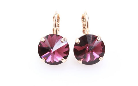 Amethyst  11MM Crystal Earrings in Rose Gold
