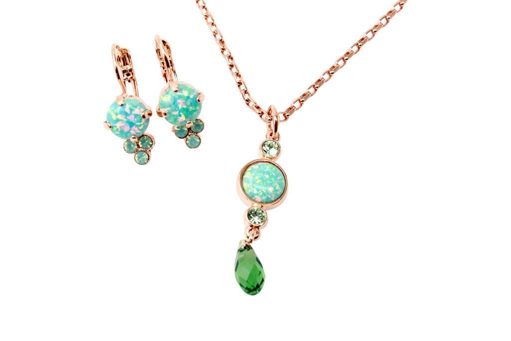 Green Synthetic Opal Necklace and Matching Earrings in Rose Gold
