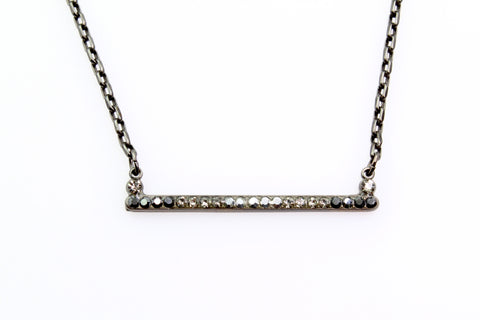 Black Diamond Collection Bar Necklace in Black