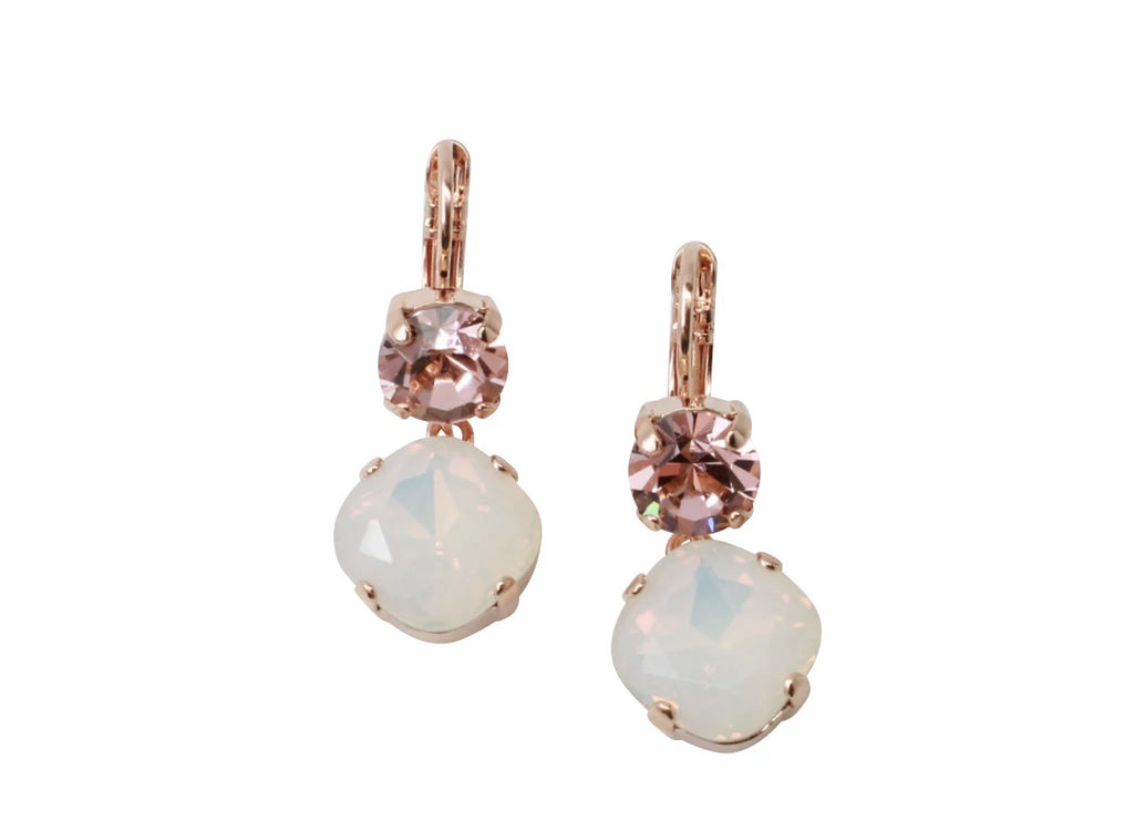 Snowflake 12MM Square Double Crystal Earrings in Rose Gold