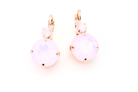 Rosewater Opal 15MM Crystal Earrings in Rose Gold