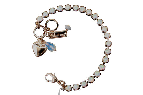 White Synthetic Opal Petite Crystal Bracelet in Rose Gold