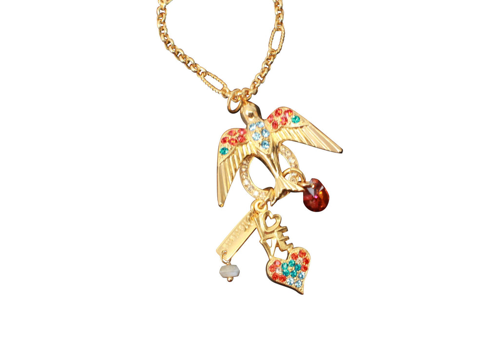 Tinsel Collection Free Bird Long Crystal Necklace in Gold