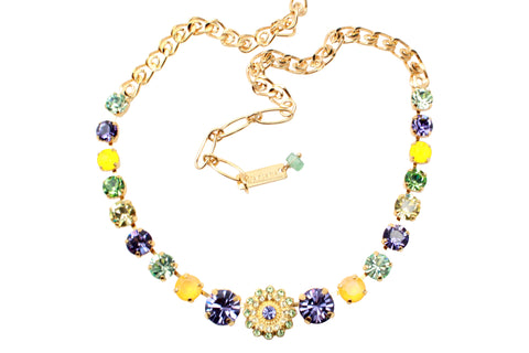 Eggnog Collection Medium Crystal Center Flower Necklace in Yellow Gold