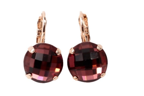 Burgundy Checkerboard Cut 11MM Crystal Earrings in Rose Gold