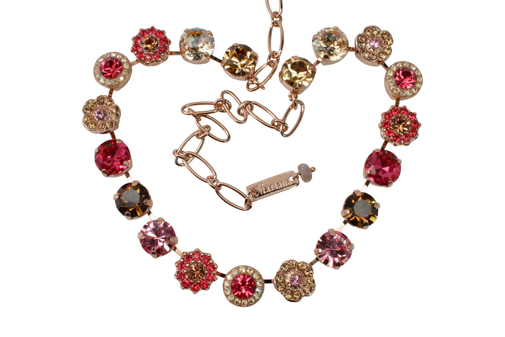 Gingerbread Collection Large Crystal Necklace in Rose Gold