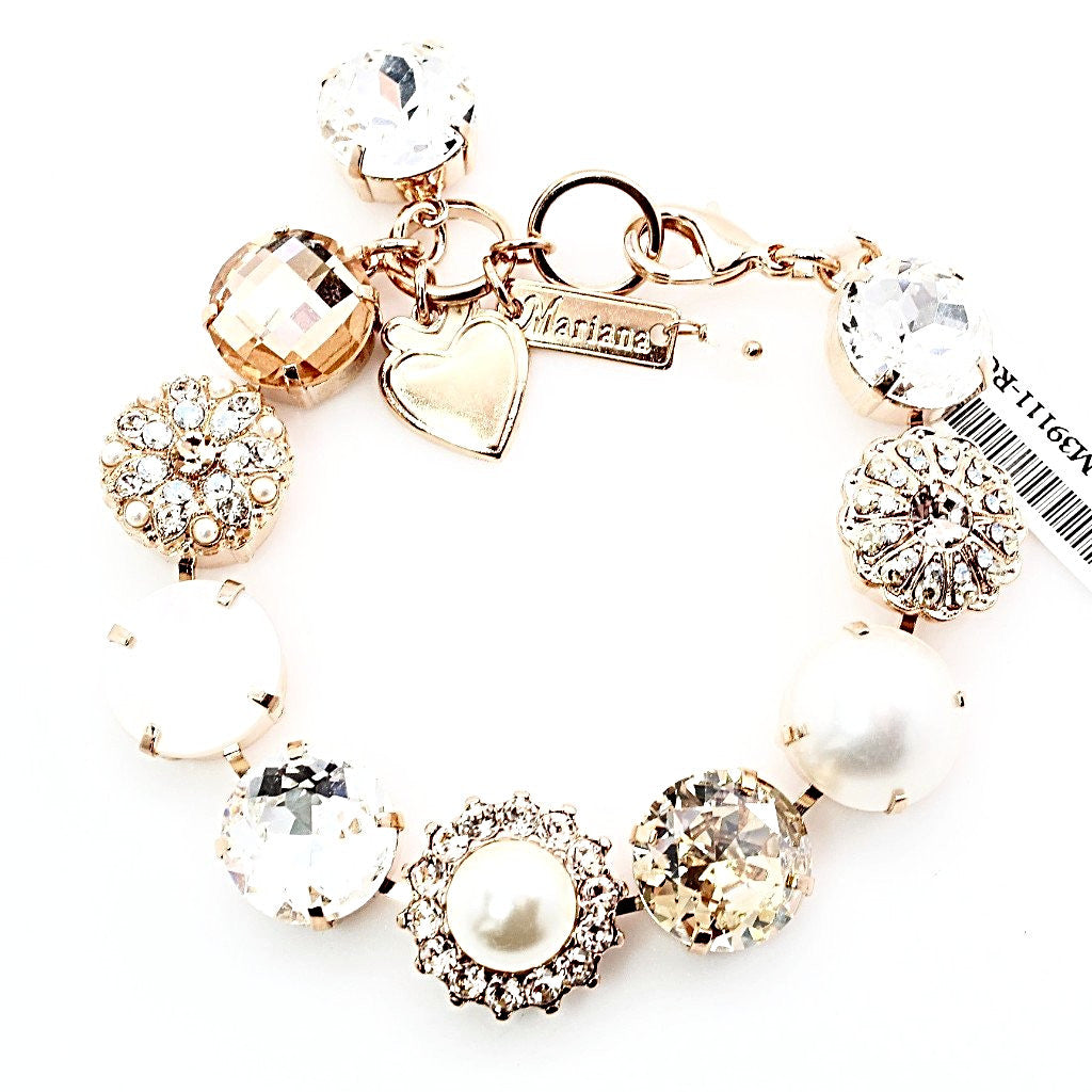 Barbados XL 15MM Crystal Bracelet in Rose Gold