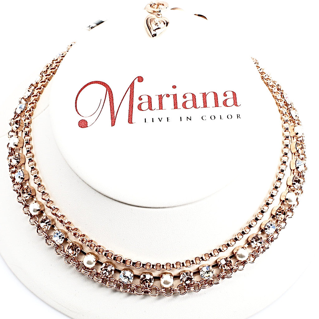 Barbados Triple Strand Crystal Necklace in Rose Gold