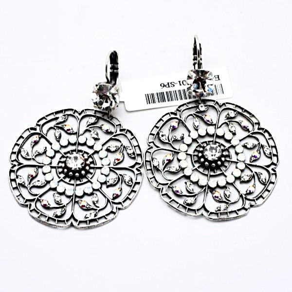 On a Clear Day Crystal Large Round Filigree Earrings