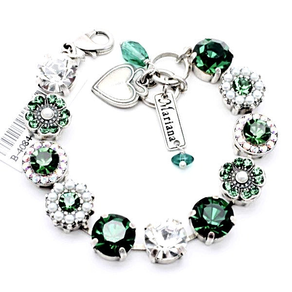 Emerald Green and Pearl Large Crystal Bracelet
