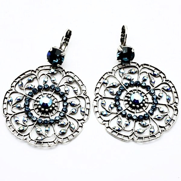 Montana Blue Crystal Large Round Filigree Earrings