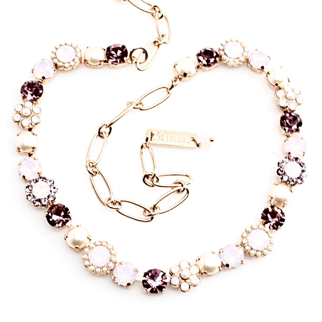 Jamaica Collection Crystal Flower Necklace in Rose Gold