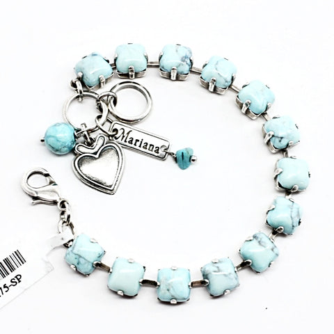 Turquoise 8MM Square Crystal Bracelet