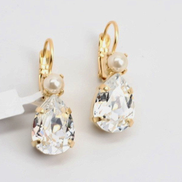 Crystal Pearls Pear Shaped Earrings With Accent Crystal in Yellow Gold