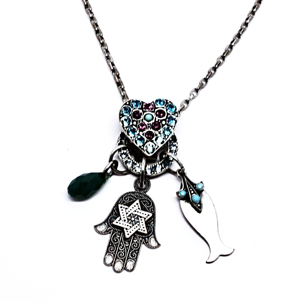 Inspire Crystal Heart and Hamsa Necklace