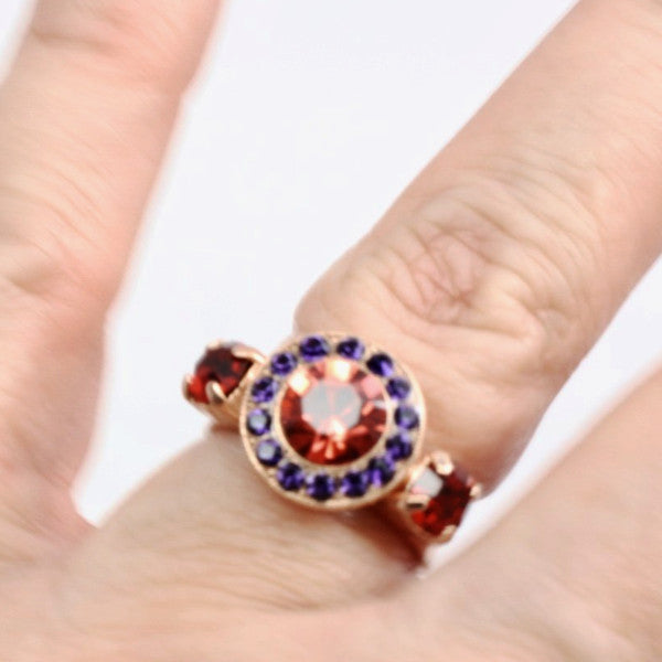 Xenia Round Crystal Ring in Rose Gold