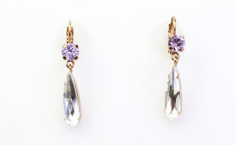 Violet and Clear Crystal Accent Earrings in English Gold