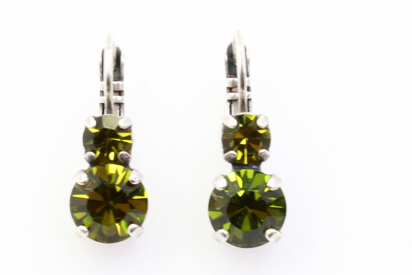Olivine Medium Double Crystal Earrings